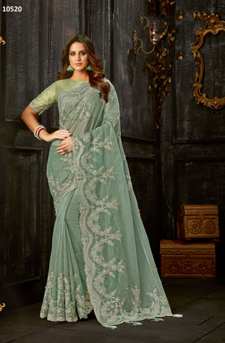 Green Tissue Party Wear Saree With Green Blouse