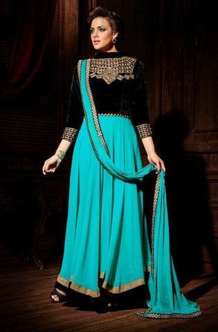 Anarkali suits Aqua,Georgette,Velvet