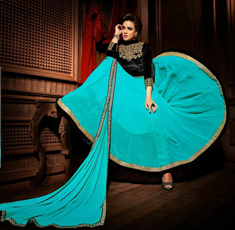 Aqua and black long anarkali suit