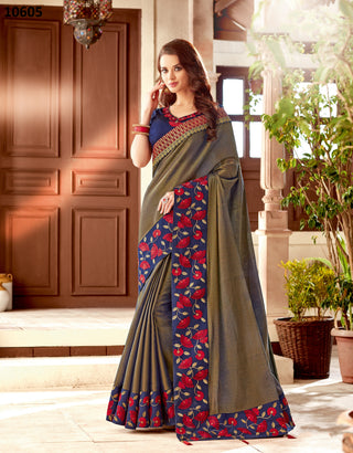 Blue-Gold Silk Party Wear Saree With Blue Blouse