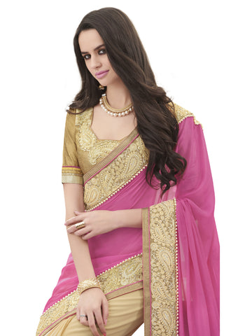 Rani , Beige,Satin Chiffon,Party wear designer saree with designer blouse