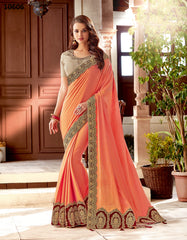 Peach Silk Party Wear Saree With Beige Blouse