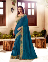 Blue Silk Party Wear Saree With Beige Blouse