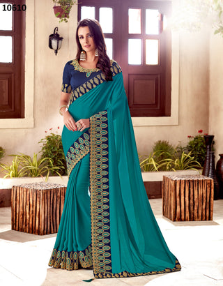 Blue Silk Party Wear Saree With Royal Blue Blouse