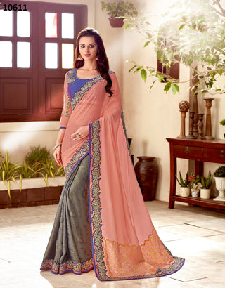Peach Grey Silk Party Wear Saree With Purple Blouse