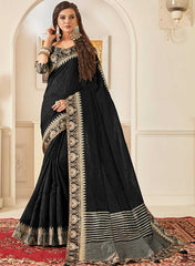 Black  Jute Silk Party Wear Saree With Black Blouse