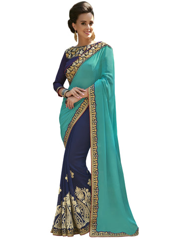 Cyan , Blue,Moss Chiffon,Party wear designer saree with designer blouse