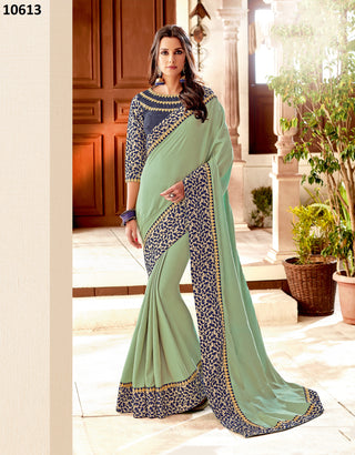 Green Silk Party Wear Saree With Blue Blouse