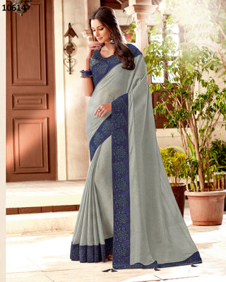 Grey Silk Party Wear Saree With Blue Blouse