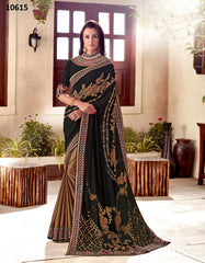 Black Gold Georgette Party Wear Saree With Black Blouse