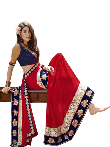 Red,Chiffon,Party wear designer saree with designer blouse