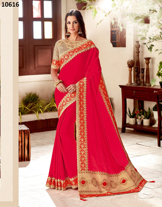 Red Silk Party Wear Saree With Beige Blouse