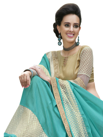 Cyan,Moss Chiffon,Party wear designer saree with designer blouse