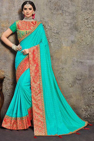 Aqua Blue  Poly Silk Party Wear Saree With Green Blouse