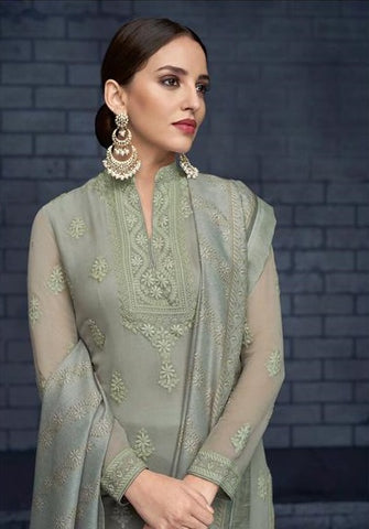 Greyish Green Heavy Faux Georgette  Party Wear Suit With  Dupatta