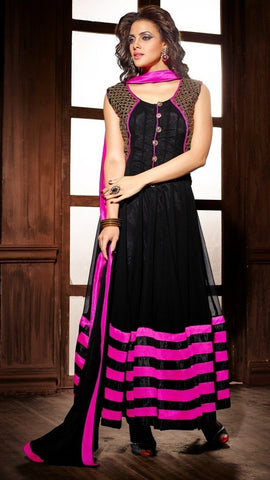 Black and pink georgette velvet long full length anarkali