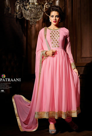 Baby Pink Long anarkali suit