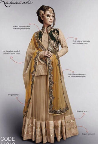Beige,Georgette,Designer long anarkali suits with heavy work embroidery