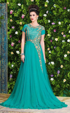 Blue designer heavy embroidery long floor length anarkali gown