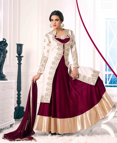 Velvet designer long floor length embroidery lehenga style with velvet jacket