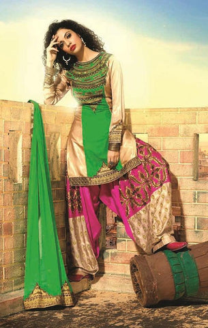 Designer Green,beige and pink patiala suit