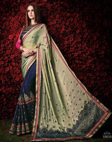 Designer shaded chiffon saree for parties, engagement and wedding