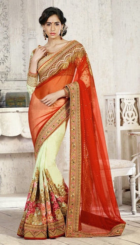 saree Maroon&Green,Chikoo&Green