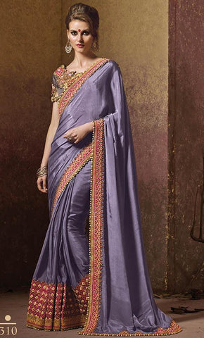 Purple silk saree with designer blouse