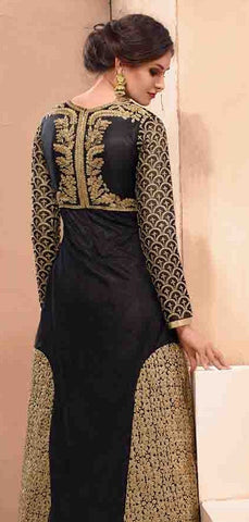 Designer silk bridal black long full length net anarkali suit