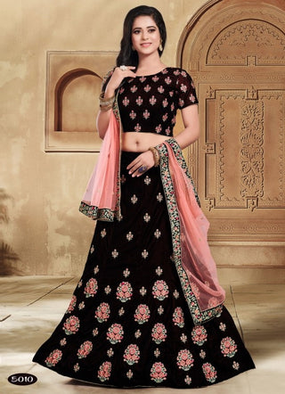 Maroon Velvet Party Wear Lehenga With Pink Dupatta