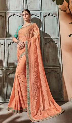 Orange Georgette Party Wear  Saree With Blue Blouse