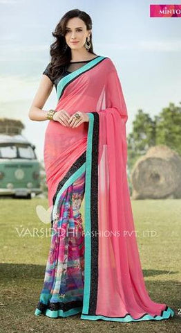 Pink,Pure georgette,Casual office wear designer saree