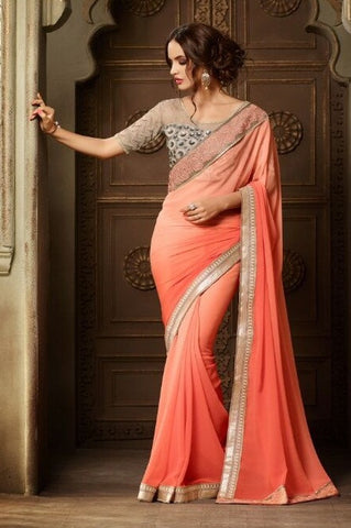 Peach,Georgette,Party wear designer saree