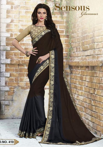 Black,Crepe,Party wear designer saree