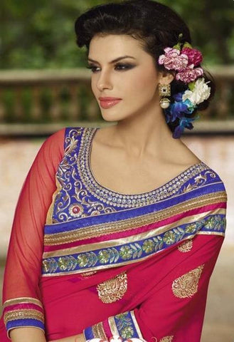Designer pink half Georgette and half net saree in double shade with embroidery