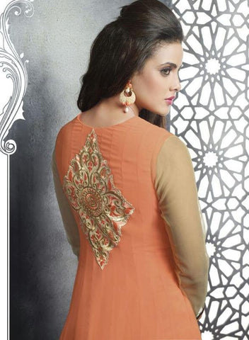 Orange designer anarkali suits with heavy embroidered on neck and heavy lace broder