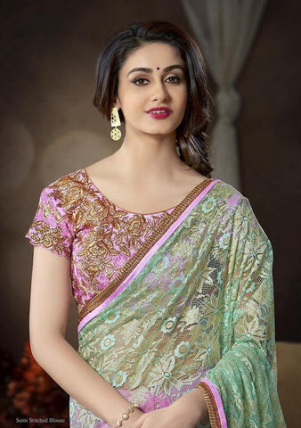 Green and pink designer net saree with designer blouse