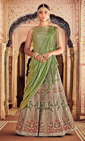 Grey Silk Party Wear Lehenga With Green Dupatta