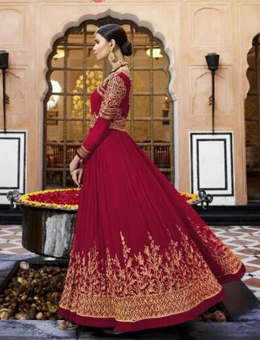 Red Georgette High Waist Type Embroidered Gown Style Anarkali Dress With Dupatta