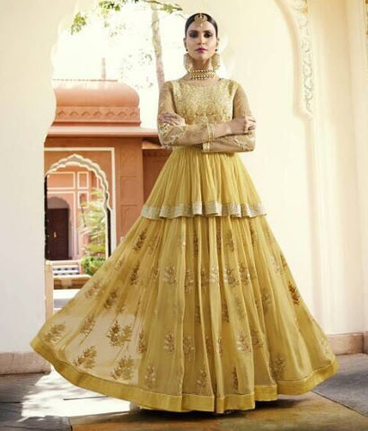 Yellow Georgette Backless Gown Style Anarkali Dress With Dupatta