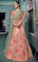 Pink Net Party Wear Lehenga With Blue Dupatta