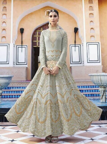 Grey Embrodiered Georgette Anarkali Dress With Dupatta