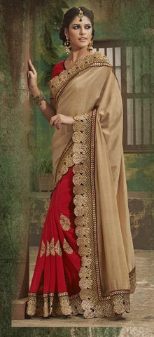 Indian heavy Bridal Saree & Blouse With Handwork and embroidery