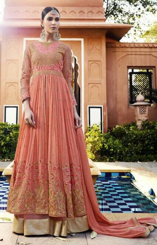 Georgette Gown Style Peach Anarkali Suit With Dupatta