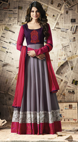 Maroon & Grey Floor length Anarkali suits with Dupatta