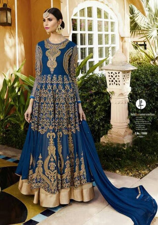 Backless Embroidered Georgette Anarkali Type Dress With Dupatta