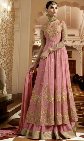 Pink High Waist Embroidered Anarkali Suit With Duaptta