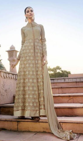 Beige Georgette Embroidered Front Slit Salwar Suit With Dupatta