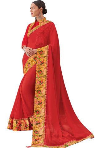 Red Chiffon Party Wear Saree With Blouse