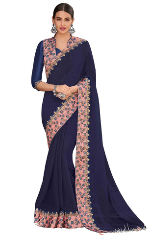 Navy Blue Chiffon Party Wear Saree With Blouse